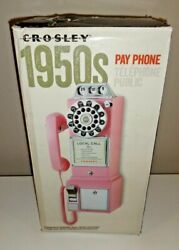 Crosley Pink Pay Phone Retro Vintage Style Working Phone Savings Bank Cr56-pi