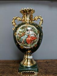 Antique French Baroque Porcelain Green 24k Gilded Vase/ 9 213 Years Collectible