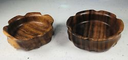 2 Mcm Scalloped Flower Wooden Bowls Monkey Pod Genuine Hand Carved Philippines