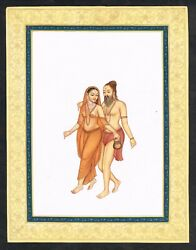 Indian Miniature Painting Of Vishwamitra With Menaka Real Gold And Gouache Artwork
