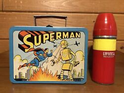 1954 Superman Lunchbox With Thermos Adco Lunch Box