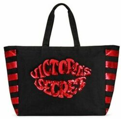 VICTORIAS SECRET TOTE WEEKENDER GYM BEACH BAG SEQUIN BLACK RED LIPS KISS ZIP NWT $24.75