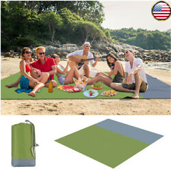 82.68quot;x78.74quot; Portable Sand Proof Waterproof Beach Mat for Travel Hiking Camping $13.56