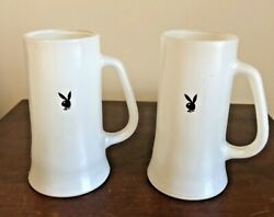 Vintage 2 Playboy Bunny Beer Glasses Frosted Mugs White Stein