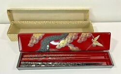 Red Lacquer Box Crane And Tree Design With 4 Inlayed Chopsticks Orig. Box Vintage