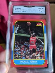 1986 FLEER MICHAEL JORDAN ROOKIE REPRINT CARD GRADED GMA 10 GEM MINT $34.99