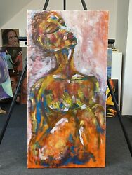 Original Abstract Impressionist Figurative Portrait Nude Acry Painting Woman