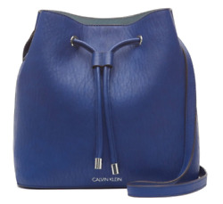 Calvin Klein 💋 Luxe Faux Leather Bucket Bag Cobalt Blue NWT $46.99