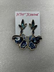 Betsey Johnson Butterfly And Critters Rhinestone Drop Earrings Nwt Rare