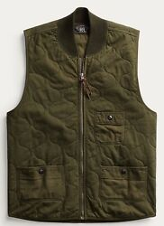 Rrl Quilted Cotton-twill Jersey Vest - Gilet Green Size Xl New