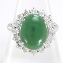 Platinum 900 Ring 16.5 Size Jade 4.40 Diamond About10.4g Free Shipping Used