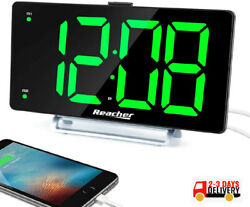 Large Alarm Clock 9quot; LED Digital Display Dual Alarm with USB Charger Port 0 100