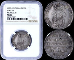 🔥rare🔥silver Medal Proclamation Ferdinand Vii In Bogotandaacute Colombia 1808 Ms62