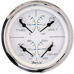 Faria Chesapeake Ss White 4 Multifunction 4-in-1 Combination Gauge W/fuel, Oil,