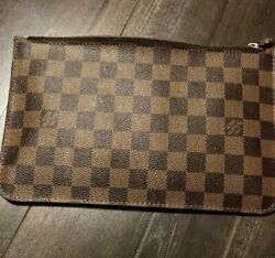 Authentic Louis Vuitton Neverfull Damier Ebene Brown Red Pochette Wristlet $440.00