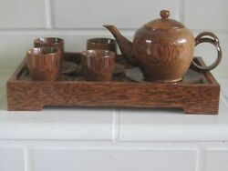 Vintage Chinese Carved Exotic Rare Wood Tea Set Teapot With Cups And Tray