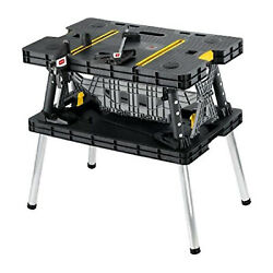 Keter Folding Table Tool Stand Workbench With 2 Clamps Black Open Box