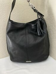 Coach Avery Black Pebbled Leather Tassel Shoulder Hobo Handbag F23309 $59.99