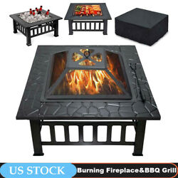 32 Metal Firepit Backyard Patio Garden Outdoor Square Stove Fire Pit With Cover