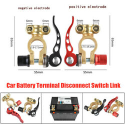 2pcs Brass Car Truck Battery Terminal Disconnect Switch Link Battery Protection