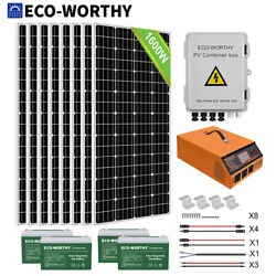 Eco 2kw 1kw Off Grid Complete Solar Panel Kit With Inverter For Home Garden Rv