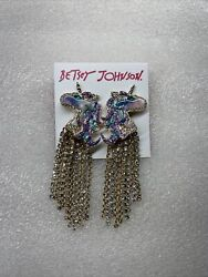 Betsey Johnson Butterfly And Critters Glitter Unicorn Drop Earrings Rare