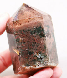 291.4g Natural Red Green Ghost Pyramid Rutilated Quartz Crystal Point Healing