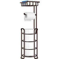 Toilet Paper Holder Stand With 4 Raised Feet For Bathroom Accessories Bronze New