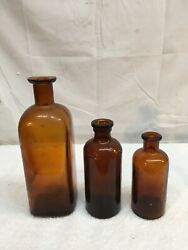 Vintage Brown Glass Bottle Lot Of 3pc Apothecary Medical Bottles