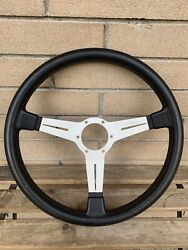 Vintage Nardi Classic, Silver Spoke With Black Leather, 365mm Steering Wheel