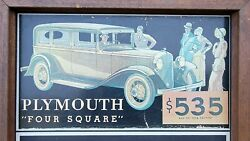 Vtg Plymouth Four Square Advertising Chalkboard Sign C1960and039s-70and039s Masonite Wood