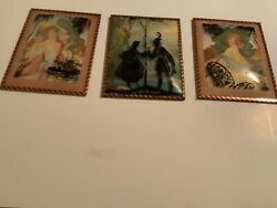 Vintage Silhouette Pictures Lot Of 3 Convex Bubble Glass Reverse Painted Framed