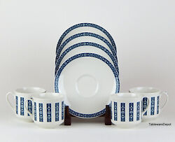 Royal Doulton Moonstone Set Of 4 Cups And Saucers, Mint/superb+, England, Tc1023