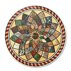48 Round Marble Dining Table Top Marquetry Art Hallway Table For Home Furniture