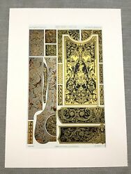Original Victorian Print 17th Century French Boulle Inlay Art Design Lithograph