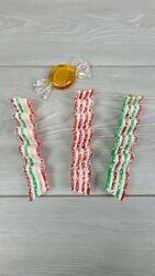 Vtg Ribbon Sugared Candy Ornament Lot Of 3 And Butterscotch Candy Plastic Resin