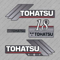 Tohatsu 18hp Two Stroke Outboard Engine Decals Sticker Set Reproduction 18 Hp