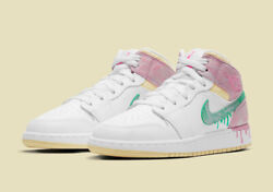 Nike Air Jordan Mid 1 Gs Paint Drip White Yellow Dd1666-100 Youth/womenand039s New