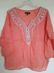 Relativity Tunic Top V-neck Coral Floral Embroidered 3/4 Sleeve Size L
