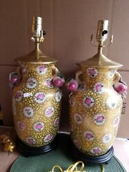 Htf Asian Porcelain Jar Lamps With Hvy Gold Accents And Rose Handles