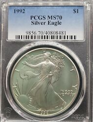 Rare 1992 Pcgs Ms70 Certified American Silver Eagle Dollar 1 - Low Pop 201