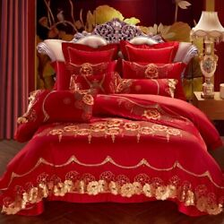 Flowers Red Wedding Bedding Set Egyptian Cotton Gold Lace Duvet Cover Bed Sheet