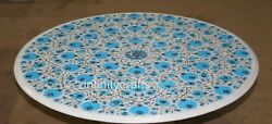 42 Marble Dining Table Top Turquoise Stone Inlaid Royal Pattern Coffee Table