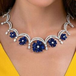 Flower Necklace 925 Sterling Silver Blue Princess Invisible Set Floral Jewelry