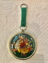 """Vintage Wall Hanging Convex Bubble Glass Dried Flower Picture Green Velvet 4.5"""""""