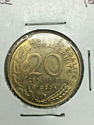 1963 France 20 Centimes Foreign Coin 0070