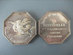 France-founded 1843- Zeus Flying Over The Clouds Insurance Canddeg-silver -rare