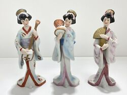 Capodimonte Japanese Geishas With Musical Instruments Porcelain Figurines - Set