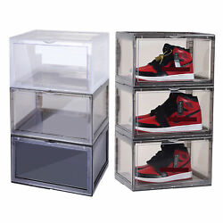 4x Magnetic Drop Side Shoe Box Stackable Shoes Sneaker Storage Container For Aj