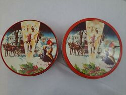 Mixed Lot Of 2 Vintage Fruit Cake Deluxe Tins - Western Themed